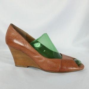Miz Mooz Size 8 Brown Leather Wedge Peep Toe Heels